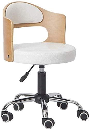 RTYUI Sedia da ufficio ergonomica girevole per computer Sedie da scrivania in metallo di alta qualità con piede in ecopelle regolabile, colore: bianco