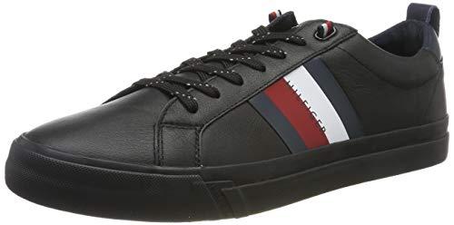 Tommy Hilfiger Flag Detail Leather Sneaker, Scarpe da Ginnastica Basse Uomo, Black Bds, 42 EU