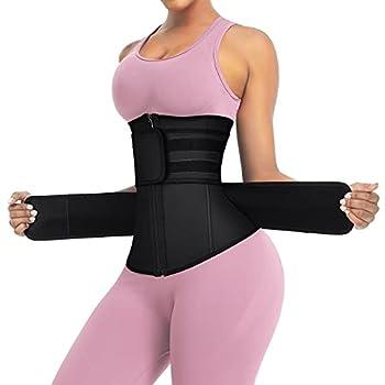 FeelinGirl Women s Latex Underbust Corset Waist Training Trainer Sport Girdle Black M