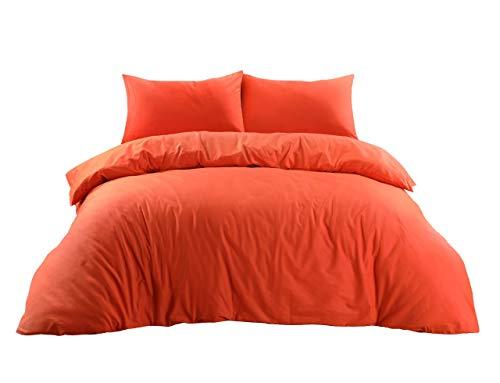 Mastex Plain Dyed 100% Cotton Double Bedding Duvet Set - Ultra Soft Quilt Cover - Hotel Quality - Premium Bedding Sets - (Orange - Double)