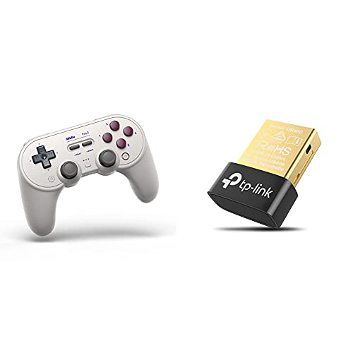 8Bitdo Pro 2 Bluetooth Controller for Switch, PC, macOS, Android, Steam & Raspberry Pi (G Classic Edition) & TP-Link UB400 Nano USB Bluetooth 4.0 Adapter Dongle (für PC Laptop Desktop Computer)