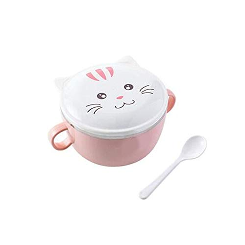 YUZZZKUNHCZw Bowls, Plastic Large Capacity Rice Bowl Stainless Steel Bowl Kitchen Large Noodle Soup Rice Bowl Fruit Salad Food Container Household Tableware (Color : Pink)