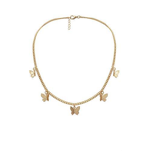 CNZXCO 2Pcs Joker Chain, Choker Collar, Bohemian Chain Choker Necklace, Golden Butterfly Pentagram Multi-Layer Necklace, Women Beach Party Dress Jewelry Accessories (Color : Gold)