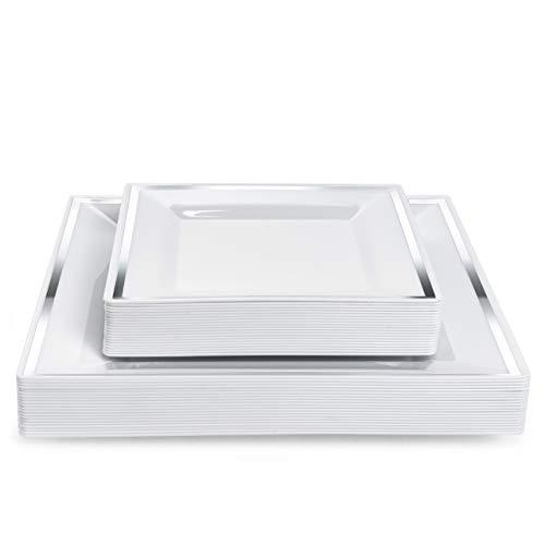 Matana 40 Platos de Plástico Cuadrados Blancos con Borde Plateado - 20...