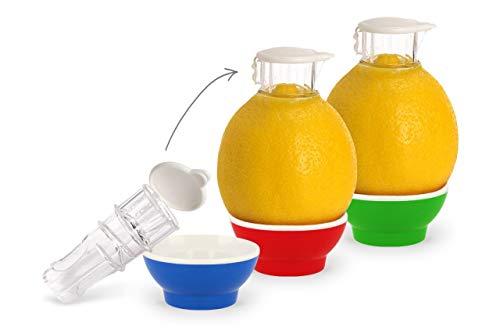 Patent-Safti 3 x Zitronenpresse Zitronen-Ausgießer Orangen-Limetten-Zitronen-Entsafter Manuelle Saft-Presse Citruspresse (Blau Rot Grün)