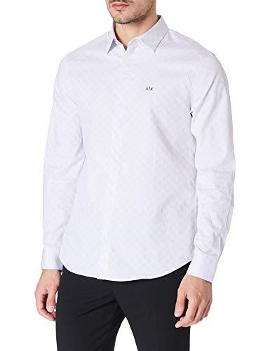 ARMANI EXCHANGE Cotton Dobby White Lines&Dots Shirt Camicia, Lines & Pois Bianchi, M Uomo