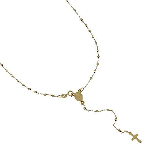 Rosario de oro de 18 quilates 750/1000 con cadena y bolas alternadas con Virgen colgante unisex, oro amarillo, 45.00, brillantes