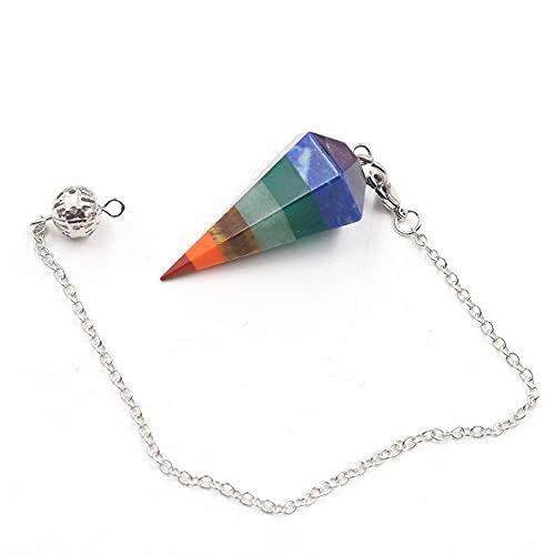 7 Chakra Stone Yoga Necklace Women Men Raw Quartz Natural Dowsing Pendulum Chain Necklaces Beads Pendants Jewelry Making-A-P8