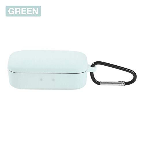 Verloco beschermhoes van siliconen voor koptelefoon QCY T5, bluetooth-koptelefoon, draadloze accessoires, schokbestendig, met haak, geen interferentie nodig, eenvoudig te laden, beschermt de hoofdtelefoon tegen krassen, Groen