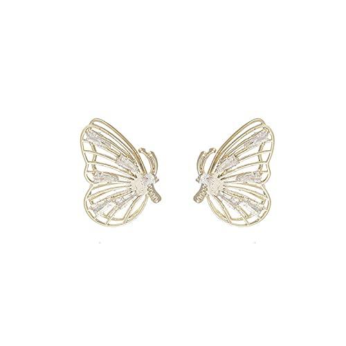 YANXIA Pendientes Vintage Elegantes Pendientes Geométricos de Mariposa 3D Pendientes Pequeños para Mujer Pendientes de Decoración Bohemia