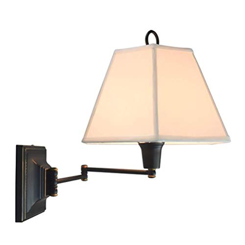 Plafondlamp Wandlamp, Flexibele Swing Arm Muurlampen, Fabric Lampenkap, Retro E27 Woonkamer Slaapkamer Hotel Coffee Shop Lamp van de Muur