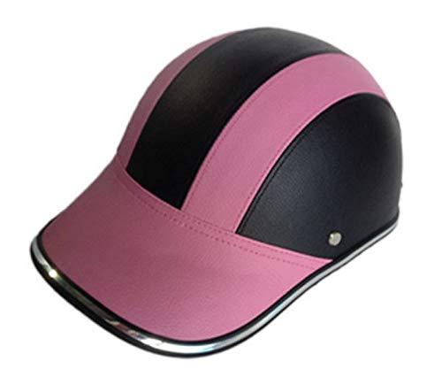 SAFT Baseball-Mütze-Art-Motorrad-Bike-Helm-Anti-UV-Visier für Männer Frauen, halb offener Gesichtshelm mit verstellbarem Riemen, Retro Kopfschutz Schutzhelm (Color : Pink)
