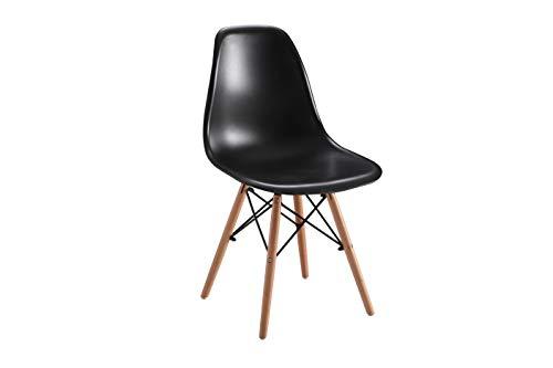 Studio Decor Dinamarca Juego 4 sillas Asiento de Resina, Madera, Negro, Unico