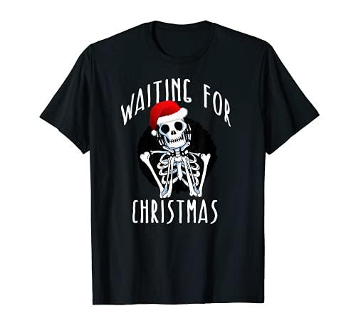WAITING FOR CHRISTMAS Skeleton Funny Santa Hat Xmas Meme T-Shirt