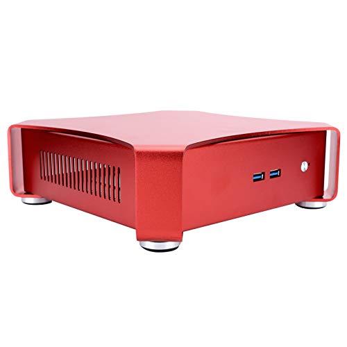BTER Carcasa para Mini computadora, Carcasa para Juegos de PC HTPC de Aluminio ITX USB3.0, Elegante Soporte Horizontal, chasis de Torre de colocación Vertical para computadora Audiovisual(Rojo)