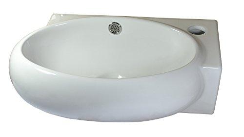 1 lavabo in ceramica piccolo da montare a parete, in ceramica, bianco, 34,5 x 28 x 14 cm