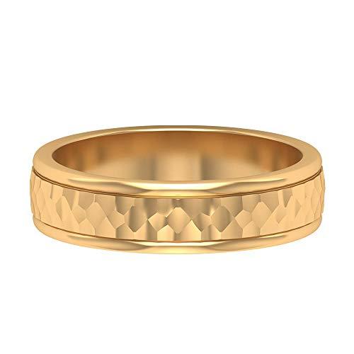Anillo de oro envejecido texturizado, banda de compromiso para hombre, banda de boda única, anillo de declaración vintage, anillo de aniversario de novio, 14K Oro amarillo, Size:EU 48