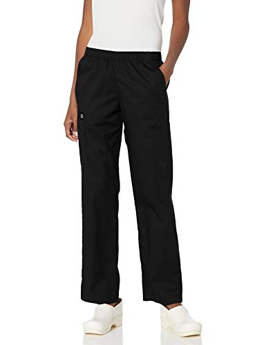 WonderWink Women's Wonderwork Pull-On Cargo Scrub Pant, Black, Large Tall