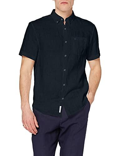 ORIGINAL PENGUIN Herren Linen Businesshemd, Blau (Blue (Dark Sapphire) 413), (Herstellergröße: Small Taglia Produttore S)