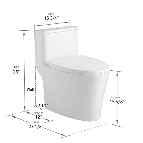 DeerValley DV-1F52807 Small Compact Elongated Modern One Piece Toilet With Soft Close Toilet Seat Ceramic Glossy White Toilets Single Flush for Small Bathroom Space