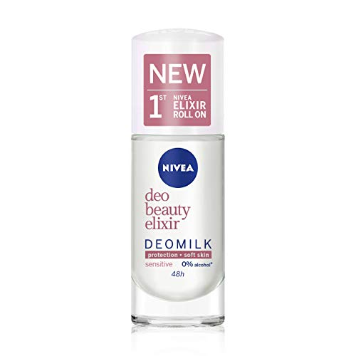 NIVEA DeoMilk Sensitive Beauty Elixir Desodorante Roll on (1 x 40 ml), con esencia de leche, desodorante antitranspirante para pieles sensibles, rehidrata y protege