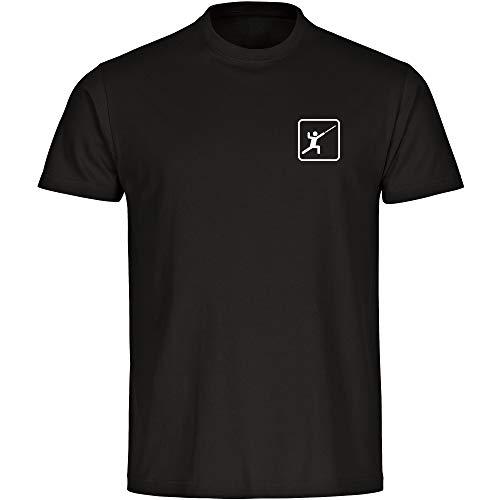 T-Shirt Fechten Fechter Piktogramm auf der Brust schwarz Kinder Gr. 128 bis 164 - Shirt Trikot Sportshirt Logo, Größe:152