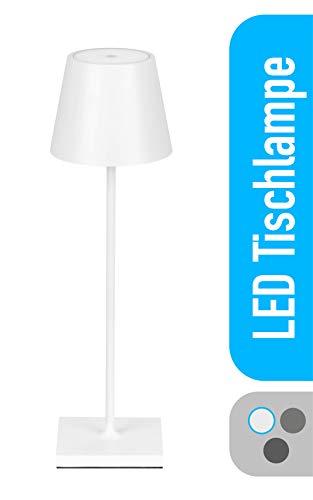 LED Tischlampe Akku stufenlos dimmbar - Tischleuchte batteriebetrieben IP54 Outdoor Lampe LED Lampe - batteriebetrieben & kabellos, 2700K, weiß