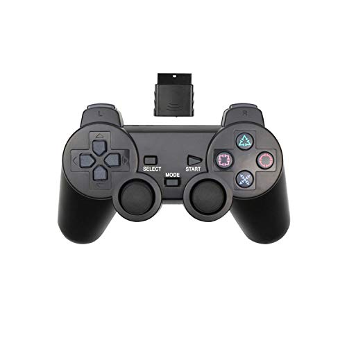 Joystick de jeu vidéo |Manette de jeu sans fil 2.4G pour Sony PS2 Controller Double Vibration Shock Controle pour Playstation 2 Console Joystick-black-