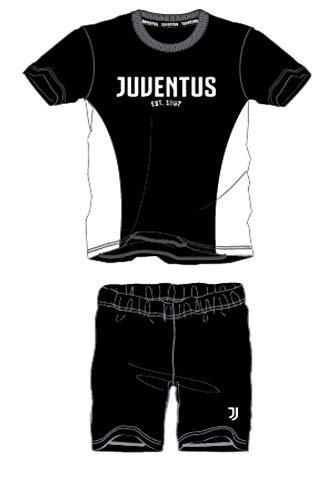 Juventus Homewear - Pijama para hombre, de algodón, ligero, de manga corta y pantalón corto en diferentes colores Negro 1409 S
