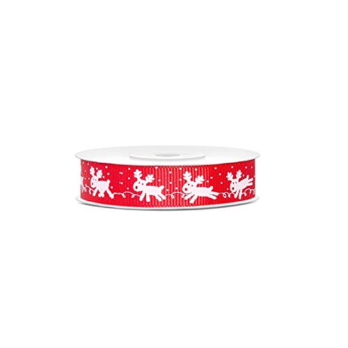 Natro nastino de Pacco ou emballage cadeau Noël Rouge avec rennes blanches – 15 mmx10 m