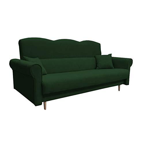 mb-moebel Schlafsofa Kippsofa Sofa mit Schlaffunktion Klappsofa Bettfunktion mit Bettkasten Couch - Tulip (Grün)