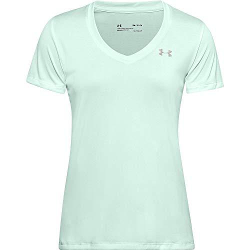 Under Armour Damen Tech V-Neck Twist Kurzarm T-Shirt, Damen, kurzärmelig, Tech V-Neck Twist Short Sleeve T-Shirt, Seaglass Blue (403)/Tonal, Medium