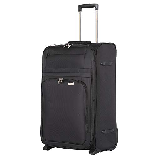 "Aerolite Medium 26"" Ultra Lightweight Expandable 2 Wheel Travel Trolley Hold Check in Luggage Suitcase, Black"