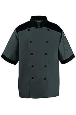 CookCool Top Trim Chef Coat Medium Charcoal