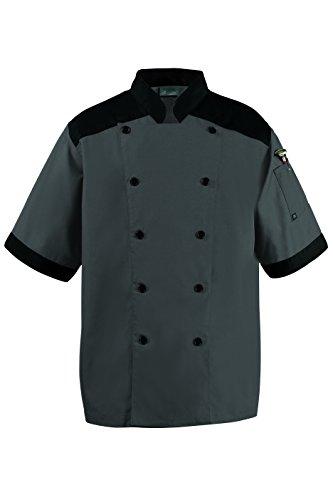 CookCool Top Trim Chef Coat Large Charcoal