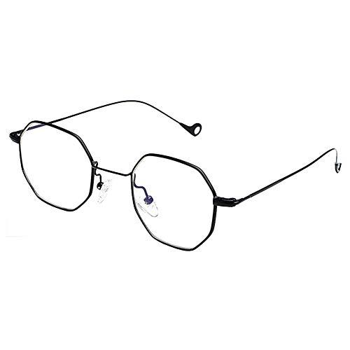 Haodasi Herren Damen Leichtgewicht Sonnenbrillen Achteckige Flach Verspiegelten Gläsern Anti-UV Brillen Quadrat Metall Rahmen Im Freien (Schwarz)