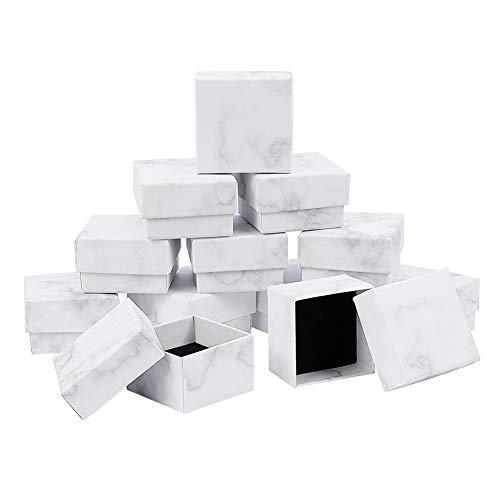 BENECREAT 12 Pack Caja de Joya Caja de Papel de Regalo 5x5x3cm Caja de Cartón Craft con Almohadilla de Terciopelo Elegante con Dibujo de Textura de Canica para Presentación de Anillo