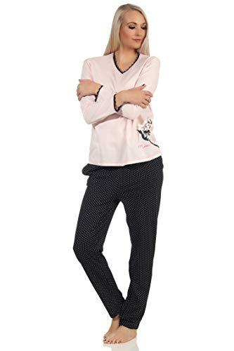 NORMANN-Wäschefabrik Süsser Damen Schlafanzug Langarm Pyjama mit Katze als Motiv, Hose in Tupfen Optik, Farbe:rosa, Größe:36-38