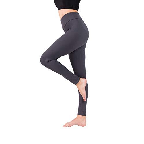 Baihetu Buttery Soft Leggings for Women-Regular and Plus Size Leggings with Inner Pockets -Yoga Pants Gray X-Small