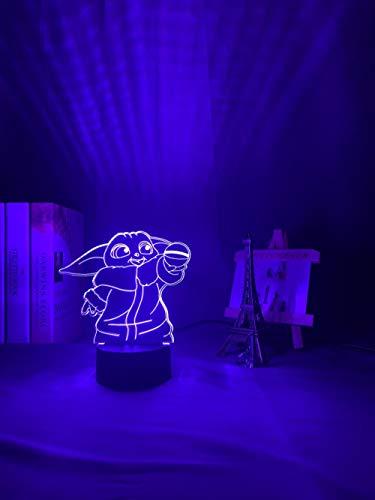 Lámpara de ilusión 3D Anime 3D Star Mini Wars Yoda luz nocturna para decoración de la habitación de los niños regalo de cumpleaños acrílico RGB LED luz nocturna LED para niños 7 colores táctil
