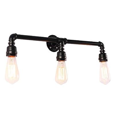 PUUPA Bathroom Vanity Lights, Industrial Black Antique Water Pipe Steampunk Wall Lamp Light Fixtures(3 Lights)