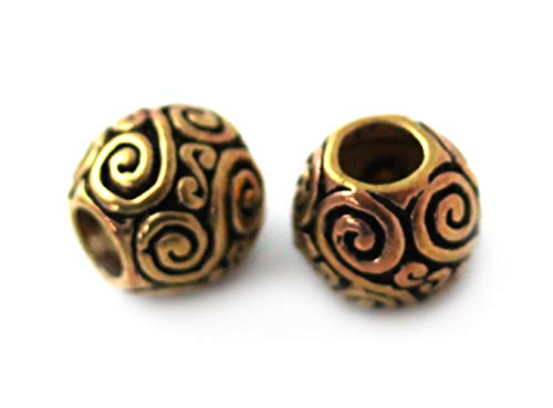 LynnAround Bronze Norse Viking Celtic Beard Beads Rings, Dwarven Dreadlock Pirate Medieval Hair Beads, Pagan Jewelry