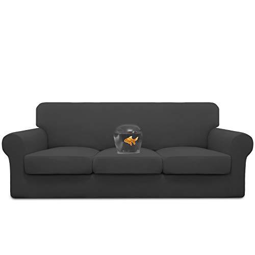 Easy-Going Funda de sofá 100% impermeable doble 4 piezas elástica suave para perros, funda de sofá para 3 cojines separados, protector de muebles a prueba de fugas, para niños, mascotas, gris oscuro