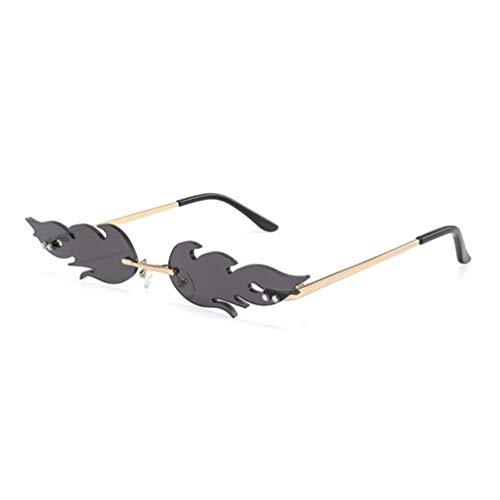 NUOBESTY Feuer Flamme Brille 1Pc 16 X 14 X 2. 7 Cm Flamme Randlose Sonnenbrille Frauen Männer Sonnenbrille Party Brille Klare Metall Sonnenbrille Rahmenlose Farben - Grau
