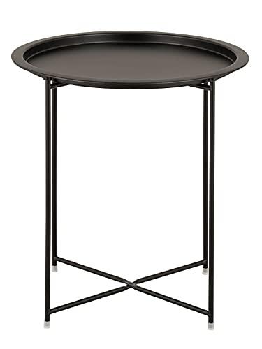casamia Beistelltisch Gartentisch Balkon Tisch Terassentisch rund Alberta Metall wetterfest zusammenklappbar Farbe schwarz