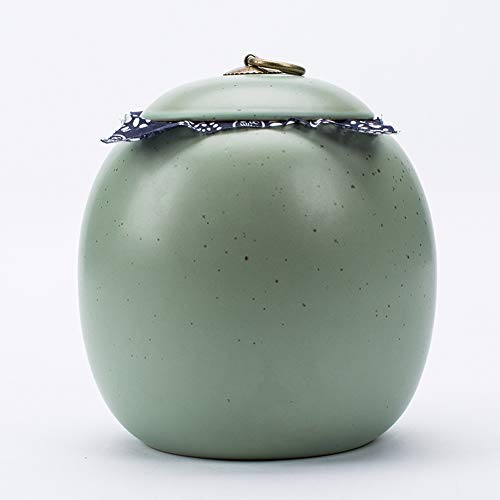 OLLY-Urns Funeral Urn Funeral Keepsake Ceramic Cremation Urn Funeral Home Adult Ashes Fits a Small Amount of Cremated Remains, Display for Memorial 17.5 * 17.5 * 18.5cm 9/11 (Color : Green)