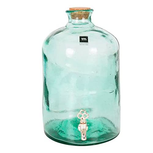 Tarro dispensador de vidrio con grifo 5 litros. Botella, bote, frasco redondo, garrafa con tapón de corcho 30 x 18,5 cm