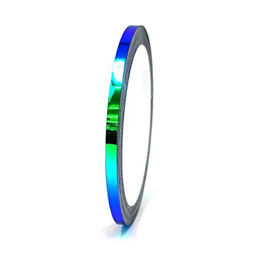 10 Meter Flip Flop Chrom Zierstreifen Basteln Effektfolie Hologramm Chameleon Auto Motorrad Modellbau Klebestreifen (FF4 Blau/Grün, 5mm Breite)