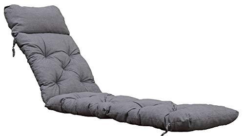 Ambientehome Deckchair Sitzkissen Sitzpolster Auflage für Liege, 195x49 cm hellgrau