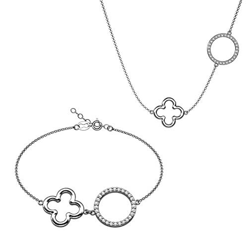 LillyMarie Damas Plata de ley 925 Amuleto la Suerte Trébol Longitud Flexible Embalaje Ecológico Regalos Pareja